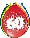 8 Luftballons Zahl 60 Geburtstag bunt