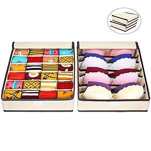 2 Stück Aufbewahrungsboxen Mit Deckel Unterwäsche Organizer für Faltbare Schubladen Organizer zum Aufbewahren von Socken, Schals, Büstenhalter