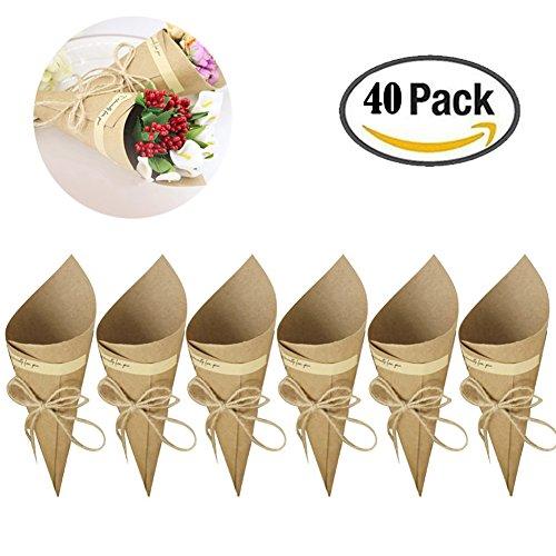 Hochzeit Blumenverpackung, BRone 40 Stk Retro Kraftpapier Kegel Strauß Süßigkeitstaschen Boxen Hochzeit Party Geschenke Verpackung mit Hanf Seile Etikett Aufkleber Klebeband (Kegel-box)