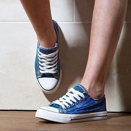 Ideal Shoes–Sneaker Bassi glitterate Jale Marine