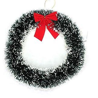 NiceButy Creativo Redonda Corona de Navidad con el Arco Rojo Guirnalda Alrededor de la decoración de Navidad Verde (Borde Blanco)