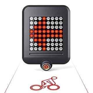 aokur 64 LED Bike Tail Light, Automatic Turn Brake Signal USB Rechargeable Waterproof Bike Rear Light (black)