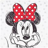 Wandbild Keilrahmen Kunstdruck 35x35 Disney Minnie Maus schwarz weiß rot