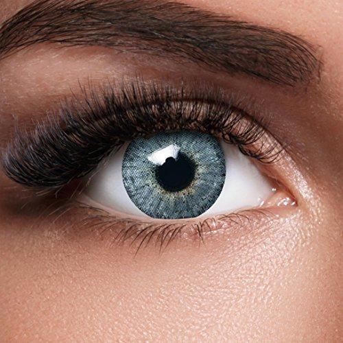 GLAMVUE Mauritius Blue + Behälter I Sehr stark deckende natürliche blaue Kontaktlinsen farbig I 1 Paar (2 Stück) I DIA 14.00 I ohne - Theater Kostüm Typ