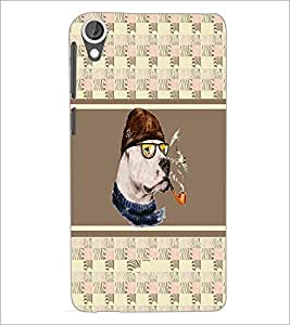 PrintDhaba Smoking Dog D-3836 Back Case Cover for HTC DESIRE 820 (Multi-Coloured)