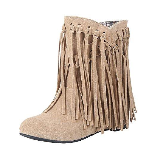 YE Damen Keilabsatz Ankle Boots High Heels Stiefeletten mit Fransen 4cm Absatz Elegant Schuhe (Schuhe Fransen Stiefel)