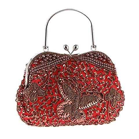 Perlen Hit Farbe Perlen Stickerei Pure Craft Paket Abendessen Classic Package Elegante Retro Bag Damen Handtasche,Red