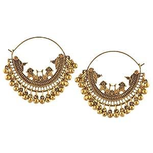 Zephyrr Oxidized Silver Beaded Chandbali Hoop Earrings Jewellery for Girls
