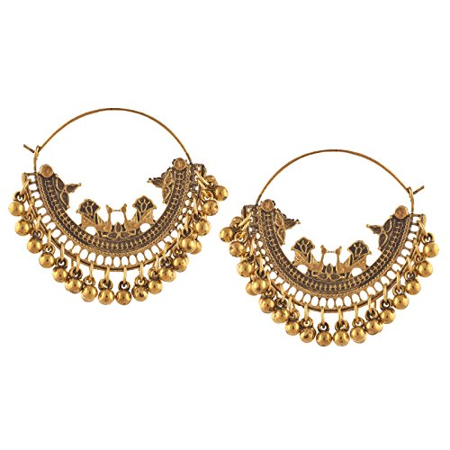 Zephyrr Jewellery Oxidized Silver Beaded Chandbali Hoop Earrings for Girls