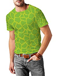Jirafa impresión brillante verde para hombre mezcla de algodón T-Shirt
