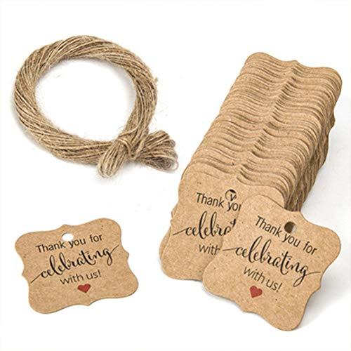 Confezione da 100 etichette per regali, biglietti di ringraziamento in carta kraft con corde da 20 m, per Natale, festa del Ringraziamento, compleanni E