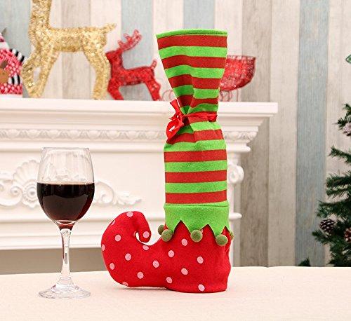 reifte Gestreifte Weinflasche Weihnachtsgestreifte Geschenktasche Weihnachtsweinflasche Set,Wie gezeigt,20 * 35cm (Datum Für Halloween-nacht)