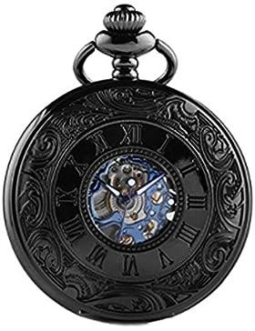 Alienwork Retro Handaufzug mechanische Taschenuhr Skelett Uhr graviert blau schwarz Metall W891B-01