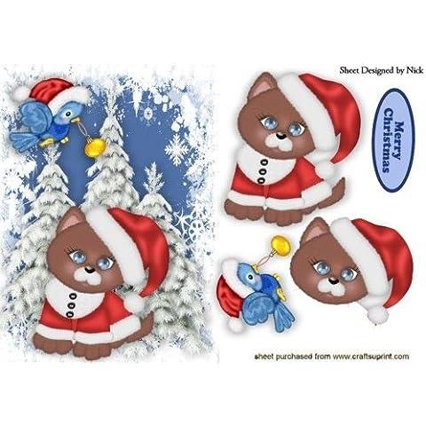 Puddy Gatto nel cappello di Babbo Natale con Little Blue Bird by Nick Bowley