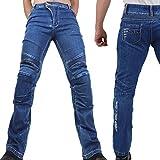 Motorradhose Jeans -Ranger- Leicht Dünn Herren Sommer Textil Jeanshose Slim Fit Motorrad Textilhose Männer Eng Stretch - blau - M