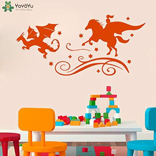 zhuziji Märchen Wandtattoo Für Kinderzimmer Ritter Dragon Chase Wandaufkleber Böse Buch Kunstwand Baby Kindergarten Schlafzimmer Home Deco 89x42 cm