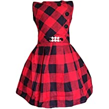 ALL ABOUT PINKS® Vintage Checks Party Wear Dresses for Girls Birthday Dress Baby Girl Frocks Party Dress for Girls Dresses Girls Party Wear Frock Dress Frock for Girls