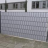 Noor Lámina de protección transparente de PVC para diferentes vallas de jardín, valla de malla de doble poste, valla metálica, valla de rejilla | gris | con 25 rieles de apriete   Rollo de 19 cm x 35 m para aprox. 7 m² (gris piedra)