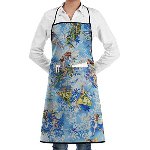 Bib Apron with Pocket Flower Elves Kitchen Apron Waterproof for Cooking Baker Servers BBQ 20