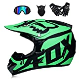 WenYan Motos Motocross Cascos y Guantes y Gafas estándar para niños ATV Quad Bicicleta go Casco de Kart,S