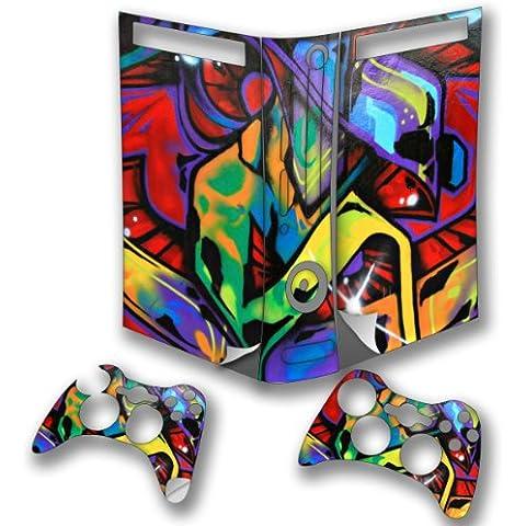 Graffiti 10001, Skin Autoadesivo Sticker Adesivi Pelle Cover Decal Set con Disegno Strutturato con XBOX 360 Fat