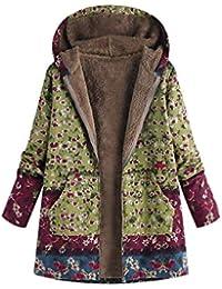 1d213374744 FNKDOR Manteau à Capuche Femmes Grande Taille Hiver Chaud Veste en Coton  Lâche Poches Rétro Fleurs Impression Plus épais Hasp Outwear Pas…