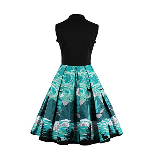 DISSA VVM1360 femme Vintage pin-up 50's 60's Robe de Soiré,Bal cocktail Rockabilly Swing Bleu