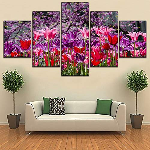 Print Tulip Rock (LAKHAFZY Rahmenlos Canvas HD Prints Home Wall Art Decorative Pictures 5 Pieces Tulip Flower Paintings for Living Room Abstract Posters)