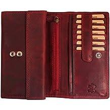 8a4c691efe7ef1 Hill Burry Echt-Leder Damen Geldbörse | Hochwertiges Vintage Leder  Geldbeutel - XXL Weiches Portemonnaie