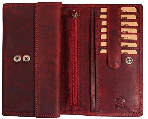 Hill Burry Damen Geldbörse   XXL Echt Leder Brieftasche - Vintage Langes Portemonnaie (Rot)