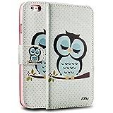 tinxi® Kunstleder Tasche für Apple iPhone 6 plus/6s plus 5.5 zoll Tasche Flipcase Schutzhülle Cover Schale Etui Skin Standfunktion mit Karten Slot schlafsüchtige Eule Owl
