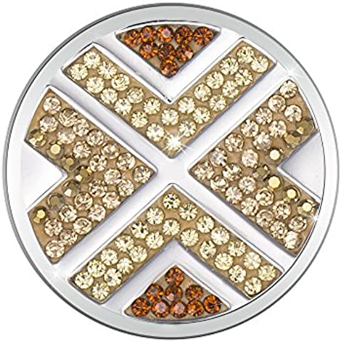 Meilanty acero inoxidable recubierto de la astilla de disco intercambiable para la moneda collar con zirconias cúbicos de Maze con 33 mm de diámetro GP-90