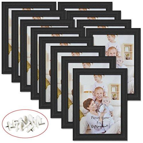 Giftgarden Cadre Photo Noir 13x18 cm Cadres en Bois Composite pour Décoration Murale à Poser sur Table-Lot DE 12 Pièces