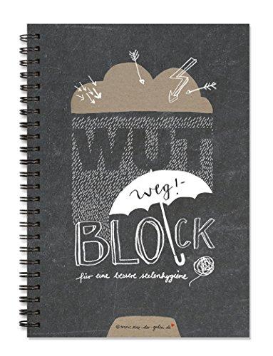 Wut-Weg-Block für Seelenhygiene| Lustiges und charmantes Eintragbuch mit Fragen zum Ausfüllen | Geschenkbuch und Tagebuch für Stress & zum Wutabbau | A5 Spiralbindung
