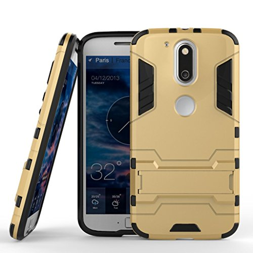 Anvika Graphic Designed Kick Stand Version 3.0 Hard Dual Rugged Armor Hybrid Bumper Back Case Cover For Moto G4 Play [G Play 4th Generation 4G] - Gold