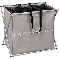 ihomagic grande 3secciones cesta para la colada, plegable Lavado Ropa Cesta de basura de cesta de almacenamiento (gris)
