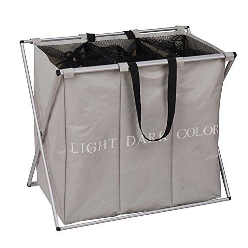 ihomagic groß 3Sektionen, faltbar Wäschekorb Wäschesammler Wäschebox Waschen Kleidung Aufbewahrungskörbe (grau) (Behindern 2 Abschnitt)