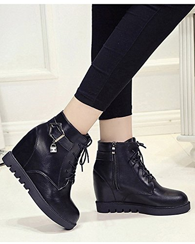 Minetom Donna Autunno Inverno Stringate Martin Boots Zeppa Stivali Altezza Crescente Scarpe Stivali Nero