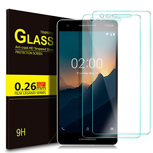 KuGi Nokia 2.1 Schutzfolie, Hartglas Glas Bildschirm Schutzfolie [Blasenfrei] [HD Ultra] [Anti-Kratzer] Bildschirmschutzfolie Bildschirmschutz Screen Protector Für Nokia 2.1 Smartphone. Klar [2 Pack]