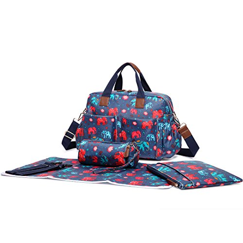 Miss Lulu 4PCS Baby Windel Windel Wickeltasche Set große Tragetasche Handtasche Schmetterling Blume Polka Dots Elefant Hund Katze Vogel Print Elephant Navy