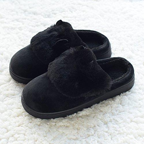 DogHaccd pantofole,Caldo cotone pantofole lana orecchio giovane autunno caldo inverno piscina stare a casa grazioso pavimento in legno anti-slittamento Nero4
