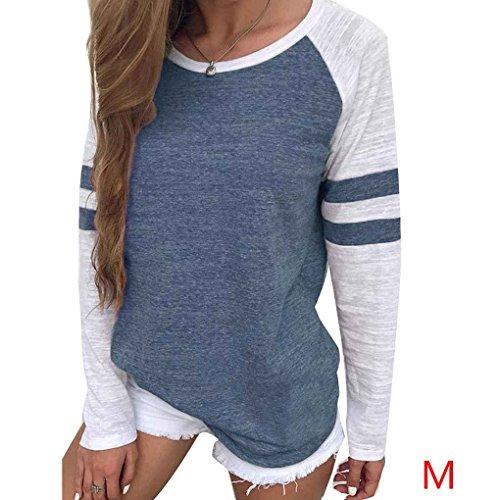 T-shirt da donna a maniche lunghe in cotone a righe manica lunga Minzhi Blu