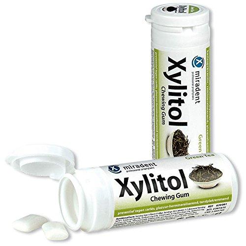 12x Miradent Xylitol Chewing Gum Zahnpflegekaugummis 30 Stück Dose grüner Tee (12x 30g)