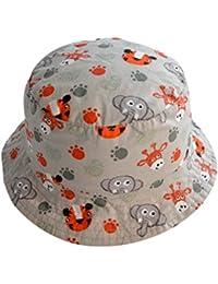 Tangda Chouette Bonnet Chapeau de Bébé en Coton Bob Hat pour Enfant Fille Garçon en Plein Air Soleil Imprimé Zoo Animaux Beanie Tour de Tête 44-54CM 3mois-6ans