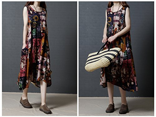 Womens Elegant Crew Neck Sleeveless Print Unregelmäßige lose Casual  Baumwolle Linie Maxi Kleid Tank Kleid Kaffee