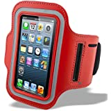 iPhone 5/Rouge – Étui Armband Brassard de Sport – Fitness – Course pour iPhone 5 (Premium Selection HQ®)
