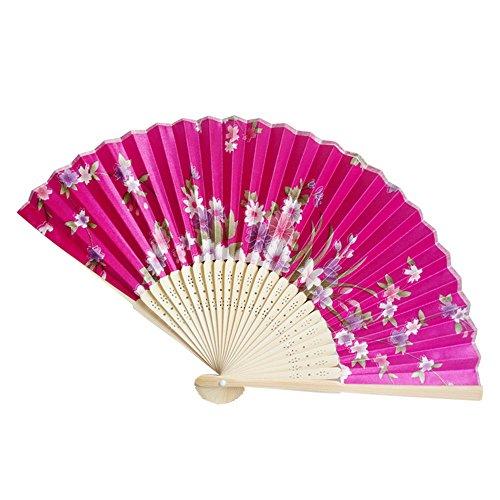 andfächer aus Bambus, faltbar, Blumenmuster, Handarbeit, Geschenk für Tanz Hochzeit Party - Chinesisch/Japanisch Vintage Retro Stil, M ()