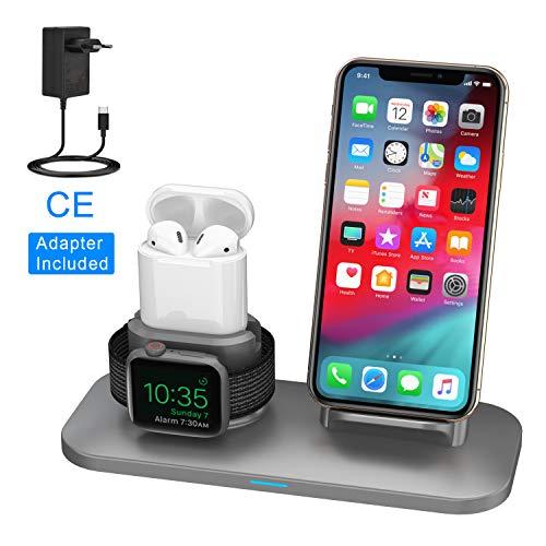 SIMPFUN Supporto Caricabatterie Wireless W01 3 in 1 Caricatore Stand per Apple Watch, iPhone e Air Pods Compatibile con Apple Watch 4/3/2/1 AirPods e iPhone X/8/8 Plus Grigio