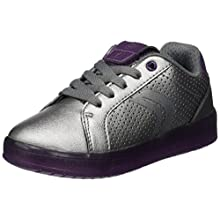 Geox J KOMMODOR GIRL A, Girls' Low-Top Sneakers Trainers, Silber (Dk Silver/Prune), 11.5 Child UK (30 EU)