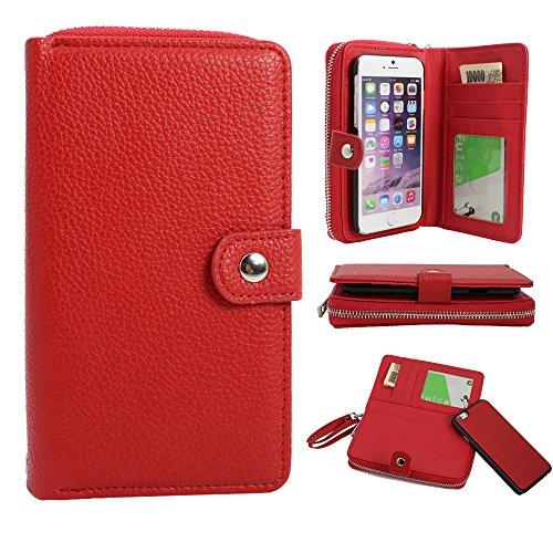 Borsetta portafoglio per 5,7pollici con zip Scomparti per Carte portatile corda Pouch Bag, Similpelle Pelle, Red, 4.7 inch